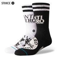 【メール便送料無料】STANCESOCKSXDLXSF-ANTIHEROスタンスソックスアンタイヒーローコラボ靴下メンズクルーソックス左右色違い白黒L25.5-29.0cm【あす楽対応】