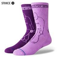 【メール便送料無料】STANCESOCKSXDLXSF-LOVEHATEスタンスソックスクルキッドマークゴンザレスコラボ靴下メンズクルーソックス左右色違い紫L25.5-29.0cm【あす楽対応】