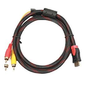 相性保証付 NO:D-C-36 【メール便送料無料】 フェライトコア付き 金メッキ高品質 HDMI A/M TO RCA3 変換ケーブル 1.5m ナイロンメッシュの網加工 金メッキ qq
