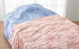 ロマンス小杉 オーバーブランケット ダブル〜クイーンサイズ 180x230cm Seora 大きめ サイズ ゆったり 暖かい ベッドスプレッド 花柄