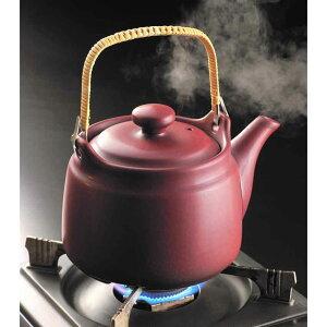 常滑焼 山源作 茶釉耐熱土瓶(ツル付き)8号 1450cc 薬用土瓶/日本製/陶器/ポット/薬缶/やかん/直火可能/コーヒー/紅茶