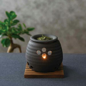 常滑焼 石龍 黒泥大丸 茶香炉 伝統工芸 消臭 キャンドルセラピー お香 笹