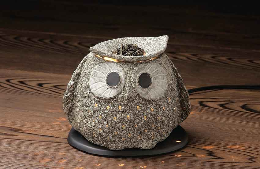 山房作 常滑焼 ふくろう電気式茶香炉 伝統工芸/消臭/フクロウ/おすすめ/キャンドルセラピー/ギフト