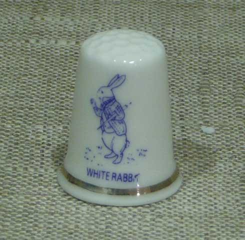 ボーンチャイナ 指ぬき(シンブル/白うさぎ) 不思議の国のアリス/雑貨