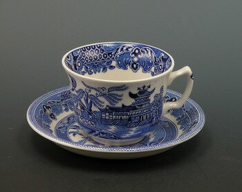イギリス食器 バーレイ社 ブルーウィロー ティーカップ&ソーサー オリエンタル/ウィローパターン/ブルー/ギフト