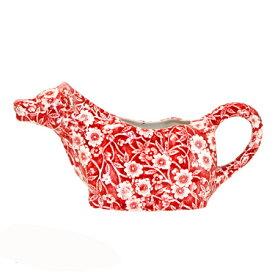 イギリス食器 バーレイ社 レッドキャリコ カウクリーマー 150ml 花柄/ミルクピッチャー/牛/おすすめ/陶器
