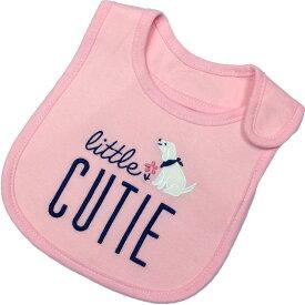 カーターズ Carter's スタイ/よだれかけ ピンク ネイビー CUTIE刺繍 女の子用 防水加工 カーターズ ビブ スタイ よだれかけ エプロン