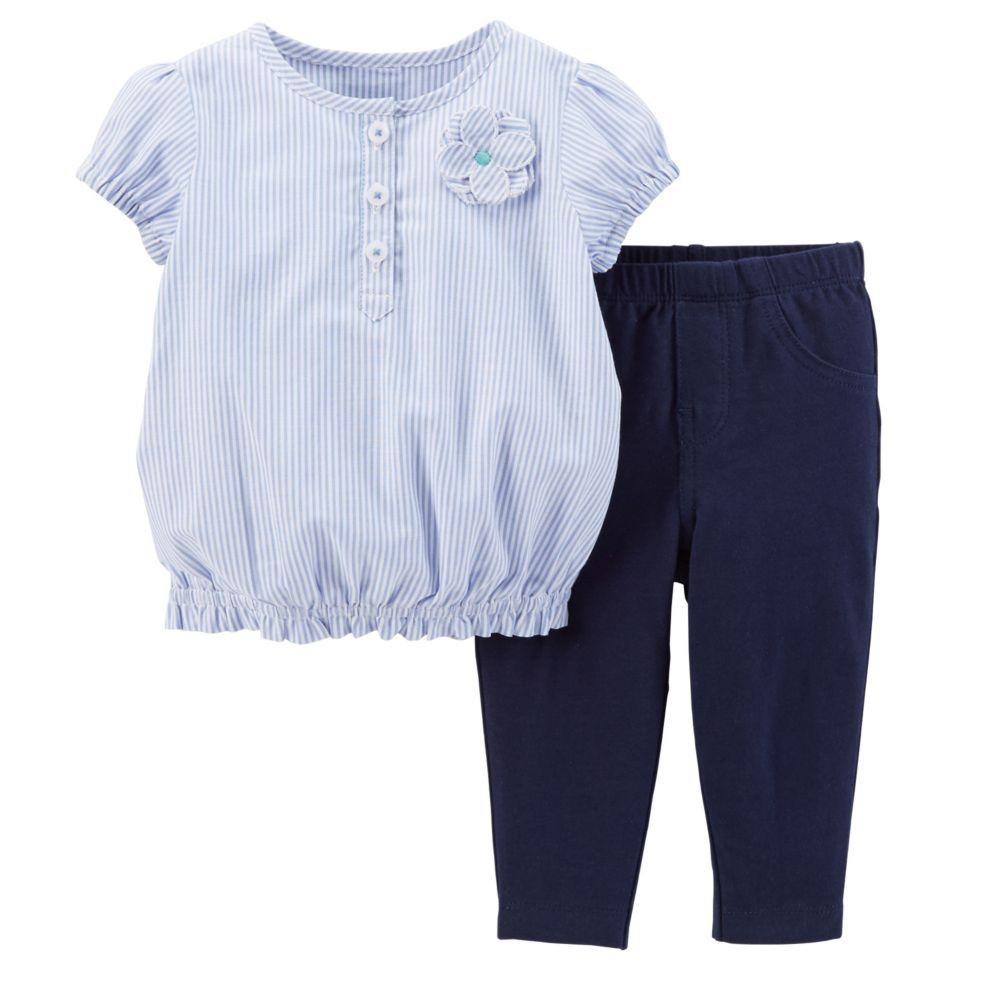 セール カーターズ Carter's 半袖 ブラウス チュニック &パンツ 2点セット 正規品 上下セット セットアップ 青、紺 ブルー ネイビー 女の子 6m9m