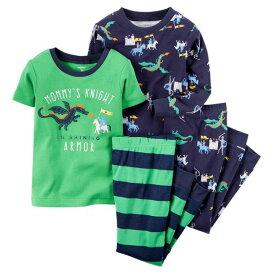 カーターズ Carter's パジャマ 上下セット 2枚組 計4点セット 長袖Tシャツ パンツ ナイト騎士 緑・紺 6m9m12m18m24m