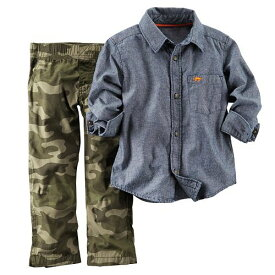 セール カーターズ Carter's 長袖 シャツ&迷彩 綿パンツ 上下 2点セット 襟付き シャンブレー セットアップ 青 ブルー アーミー カーキ 緑 男の子 6m9m12m18m24m 10P09Jan16