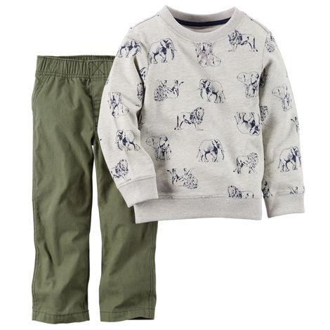 セール カーターズ Carter's 長袖 スウェット トレーナー&綿パンツ 上下 2点セット ゾウ、ライオン、動物柄 セットアップ グレー、カーキ 男の子 6m9m12m18m24m