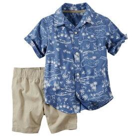セール カーターズ Carter's 半袖 シャツ& ショート パンツ 上下セット 正規品 襟付き 2点セット セットアップ 短パン 青 ブルー ベージュ 男の子 6m9m12m18m24m