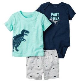 カーターズ Carter's 半袖 Tシャツ ボディスーツ ショートパンツ 3点セットアップ 恐竜 男の子6m9m12m18m24m 紺、ミントグリーン