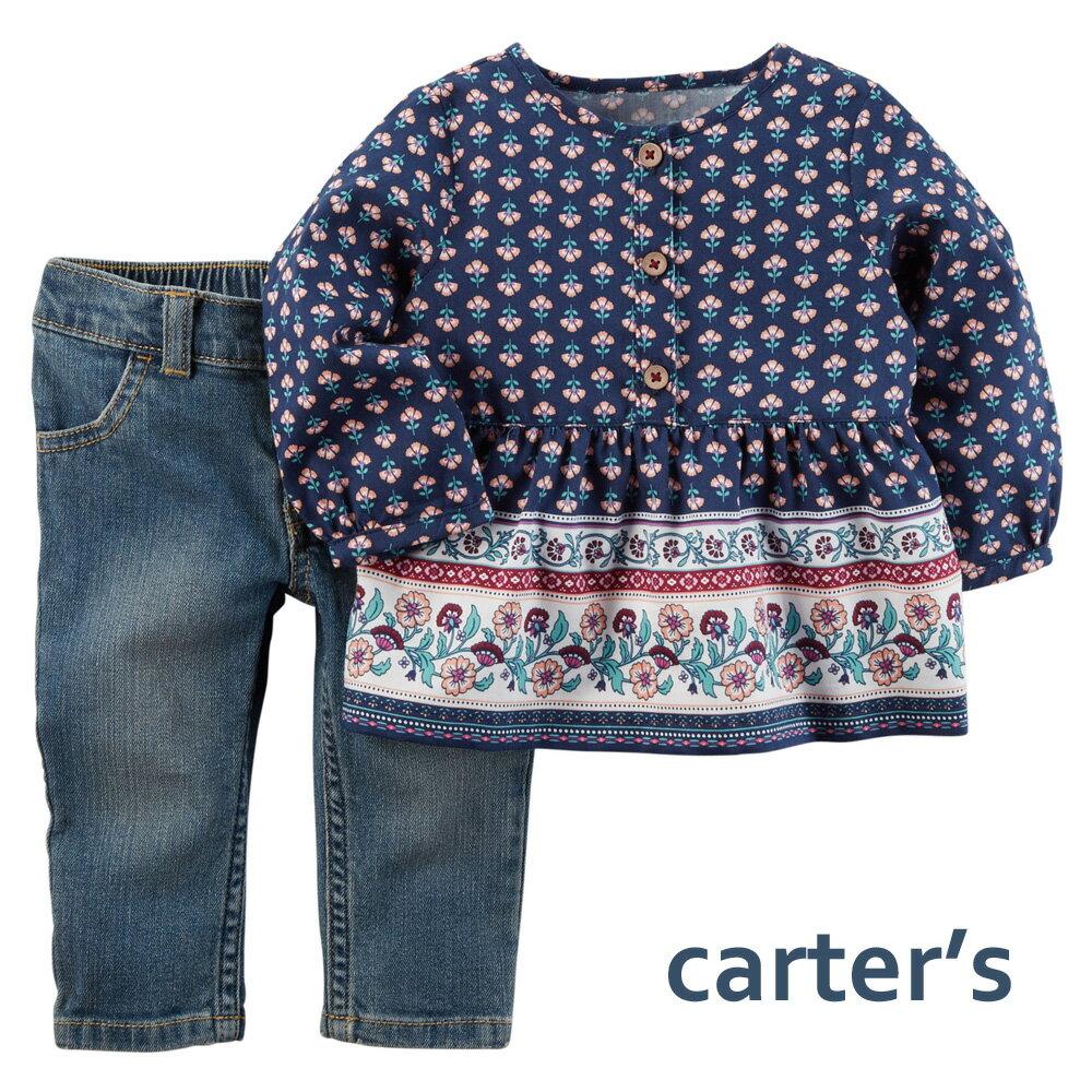 カーターズ 2点セットアップ チュニックトップ&デニムパンツ Carter's 女の子用長袖ブラウス上下セット 6m-24m