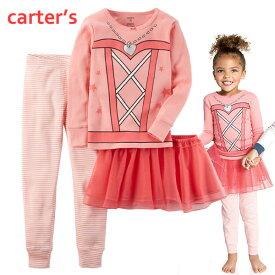 セール カーターズ Carter's パジャマ 上下セットアップ 3点セット 長袖Tシャツ パンツ チュールスカート 女の子用 ピンク 12m-5T