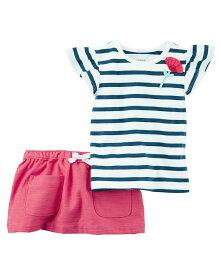 セール カーターズ Carter's 半袖 Tシャツ スカート スコート 2点セットアップ 女の子 正規品 ボーダー 6m9m12m18m24m