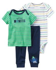 カーターズ 半袖ボディスーツ 半袖Tシャツ パンツ Carter's 3点セットアップ 男の子 正規品 モンスター グリーン【6m9m12m18m24m】