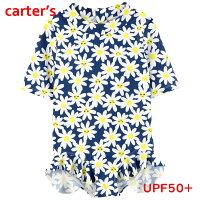 カーターズ水着女の子ラッシュガード半袖お花柄ワンピースオールインワンキッズ子ども紺白黄色Carter's正規品2才3才4才5才