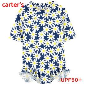 カーターズ 水着 女の子 ラッシュガード 半袖 お花柄 ワンピース オールインワン キッズ 子ども 紺白黄色 Carter's 正規品 2才3才4才5才