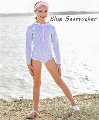ラッフルバッツRuffleButts水着長袖ラッシュガードワンピーススイムウェアベビー用オールインワン女の子用小花柄白ピンクブルー6m12m18m24m/ヵ月