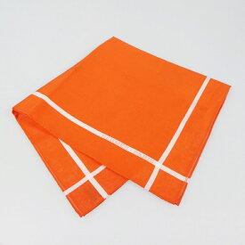 【中古】HERMES|エルメス Hパッサン ハンカチ  オレンジ【f135】