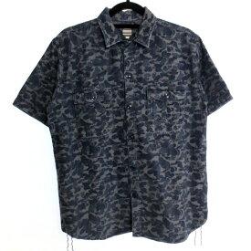 【中古】桃太郎ジーンズ ティンバーシャツ 半袖 シャツ サイズ:40 カラー:ネイビー系 / アメカジ【f101】