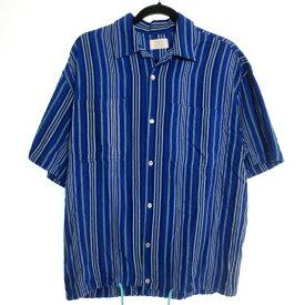 【中古】FREAK'S STORE フリークスストア 半袖 ストライプ オープンカラー シャツ サイズ:M カラー:ブルー系 / セレクト【f099】