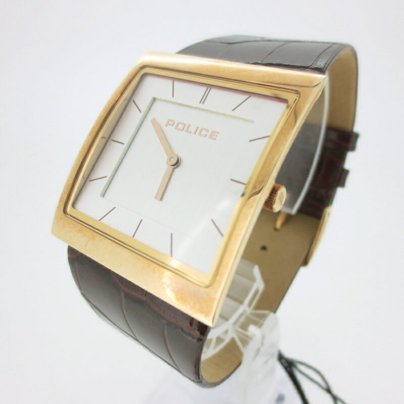 【中古】POLICE ポリス 腕時計 リストウォッチ 13678B ホワイト系×ブラウン系 クォーツ ステンレススティールベルト【f131】