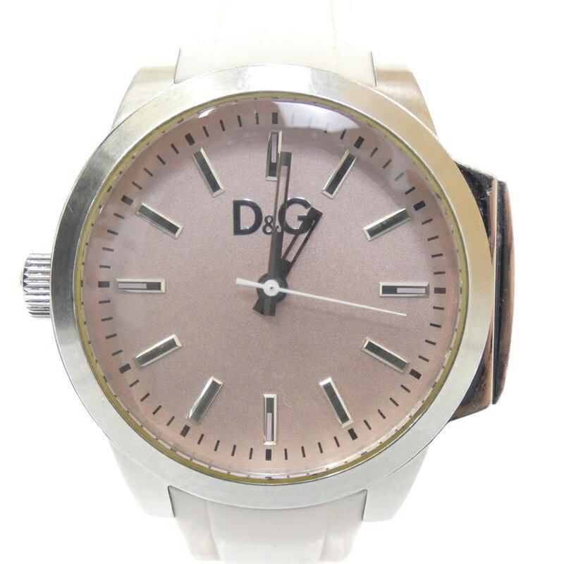 【中古】DOLCE&GABBANA/D&G/ドルチェ&ガッバーナ/ドルガバ 腕時計 - ピンク×ピンク クォーツ ラバーベルト【f131】