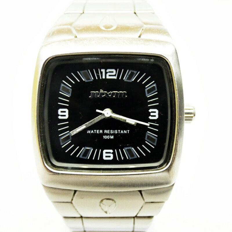 【中古】NIXON/ニクソン 腕時計 MANUAL マニュアル ブラック×シルバー クォーツ ステンレススティールベルト【f131】