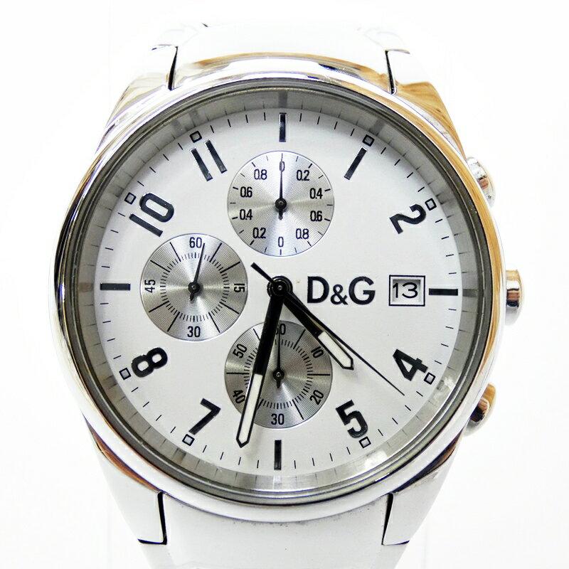 【中古】DOLCE&GABBANA/D&G/ドルチェ&ガッバーナ/ドルガバ 腕時計 バイパー ホワイト×シルバー クォーツ ステンレススティールベルト【f131】