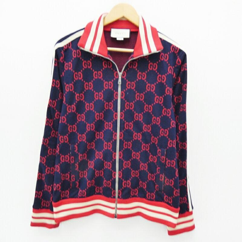 【中古】GUCCI/グッチ 496919 GGジャガードジャケット サイズ:L カラー:ネイビー×レッド【f135】