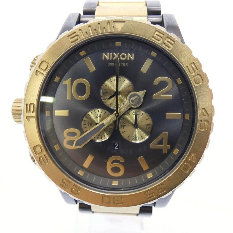 【中古】NIXON/ニクソン 腕時計 51-30 クォーツ サイズ:- カラー:ブラック(文字盤)×ゴールド(ベルト)【f131】