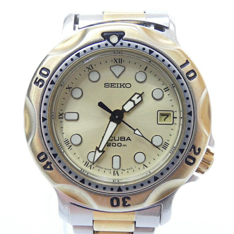 【中古】SEIKO/セイコー 腕時計 SCUBA200 スキューバ200 クォーツ サイズ:- カラー:ゴールド系(文字盤)ゴールド×シルバー(ベルト)【f131】