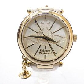 【中古】Vivienne Westwood/ヴィヴィアン・ウエストウッド 腕時計 VV006WHWH クォーツ レザーベルト サイズ:- カラー:ゴールド(文字盤)×ホワイト(ベルト)【f131】