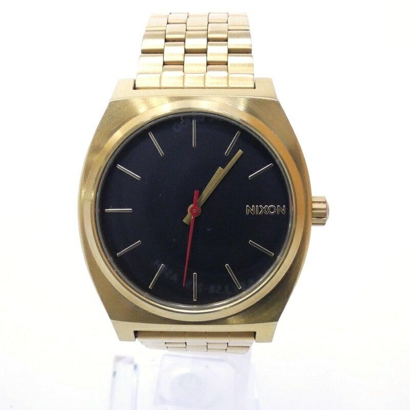 【中古】NIXON/ニクソン 腕時計 TIME TELLER タイムテラー クォーツ サイズ:- カラー:ブラック(文字盤)×ゴールド(ベルト)【f131】