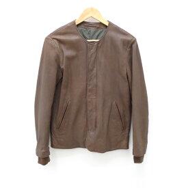 【中古】SANDINISTA /サンディニスタ 2015F/W Collarless Lamb Leather Rib Jacketノーカラーレザージャケット サイズ:S カラー:ブラウン / セレクト【f091】