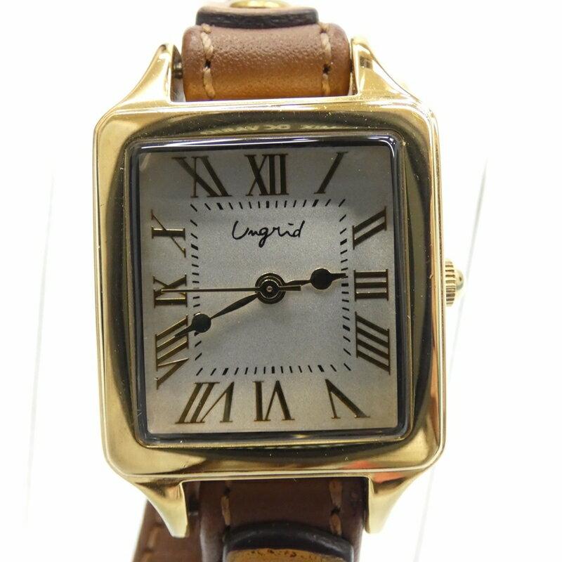 【中古】Ungrid/アングリッド 腕時計/クォーツ/レザーベルト/UN23 サイズ:- カラー:ホワイト(文字盤)×ブラウン(ベルト)【f131】