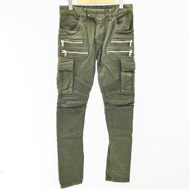 【中古】BALMAIN/バルマン カーゴパンツ/バイカー パンツ サイズ:W:28 カラー:カーキ【f108】