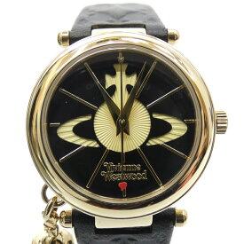 【中古】Vivienne Westwood/ヴィヴィアン・ウエストウッド 腕時計/クォーツ/レザーベルト サイズ:- カラー:ブラック(文字盤)×ブラック(ベルト)【f131】