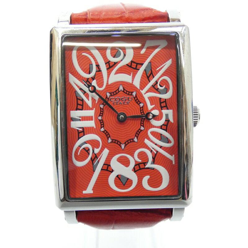 【中古】COGU/コグ 腕時計/自動巻き/レザーベルト サイズ:- カラー:レッド(文字盤)×レッド(ベルト)【f131】