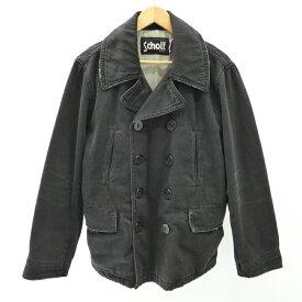 【中古】SCHOTT/ショット Pコート/DENIM PEA COAT サイズ:XL カラー:ブラック / アメカジ【f093】