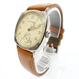 【中古】CYMA/シーマ 腕時計 アナログ クォーツ レザーベルト サイズ:- カラー:ホワイト(文字盤)ブラウン(ベルト)【f131】