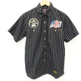 【中古】TOYS McCOY/トイズマッコイ AMA 半袖ストライプワークシャツ サイズ:15 カラー:ブラック / アメカジ【f101】