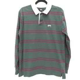 【中古】STUSSY/ステューシー ラガーシャツ サイズ:S カラー:グリーン系 / ストリート【f103】