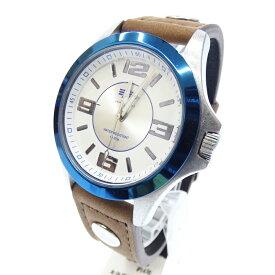 【新古品・未使用品】ALPHA/アルファ 腕時計 AL504M03 クォーツ アナログ レザーベルト サイズ:- カラー:ホワイト(文字盤)ブラウン系(ベルト)【f130】