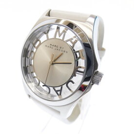 【中古】MARC BY MARC JACOBS/マークバイマークジェイコブス 腕時計 MBM1241 アナログ クォーツ レザーベルト サイズ:- カラー:シルバー(文字盤)ホワイト(ベルト)【f131】