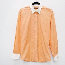【中古】lucien pellat-finet/ルシアン ペラフィネ 国内正規品 クレリックシャツ スカル&ウィード 長袖シャツ サイズ:S カラー:オレンジ【f108】