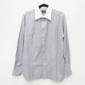 【中古】TOM FORD/トムフォード 千鳥柄 長袖シャツ サイズ:42 カラー:ブルー×グレー【f108】