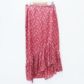 【中古】CLANE/クラネ スカート/アシンメトリープチフリルフラワースカート サイズ:2 カラー:レッド / Vivi系【f112】